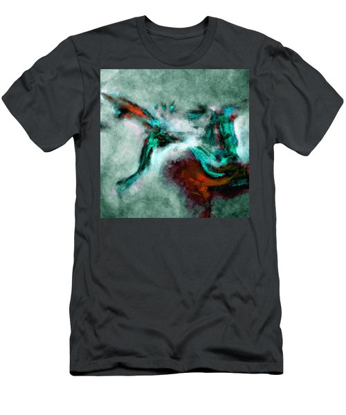 Men's T-Shirt (Slim Fit) featuring the painting Surrealist And Abstract Painting In Orange And Turquoise Color by Ayse Deniz