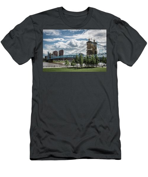 Suspension Bridge Color Men's T-Shirt (Slim Fit) by Scott Meyer