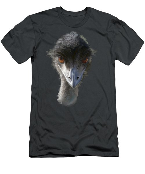 Men's T-Shirt (Athletic Fit) featuring the painting Suspicious Emu Stare by Ivana Westin