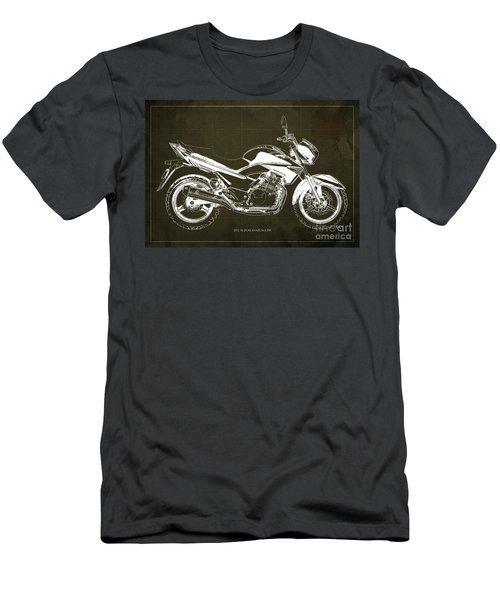 Suzuki Inazuma 250 2012 Blueprint Gift For Bikers Brown Background Men's T-Shirt (Athletic Fit)