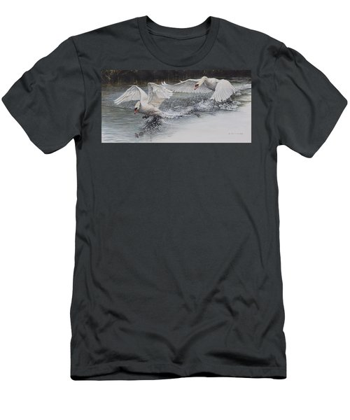 Men's T-Shirt (Athletic Fit) featuring the painting Swans In Dispute by Alan M Hunt