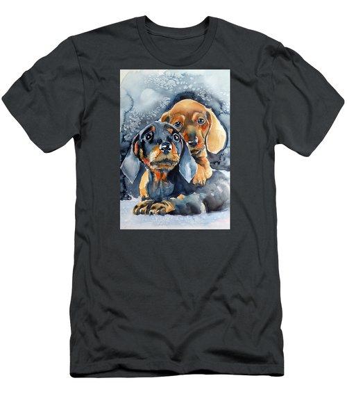Sweet Little Dogs Men's T-Shirt (Slim Fit) by Kovacs Anna Brigitta
