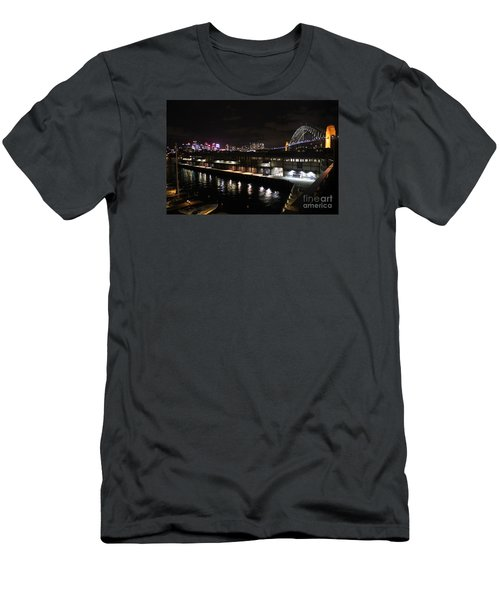 Sydney Harbor At Night Men's T-Shirt (Slim Fit) by Bev Conover