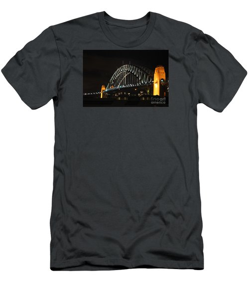 Sydney Harbor Bridge At Night Men's T-Shirt (Slim Fit) by Bev Conover