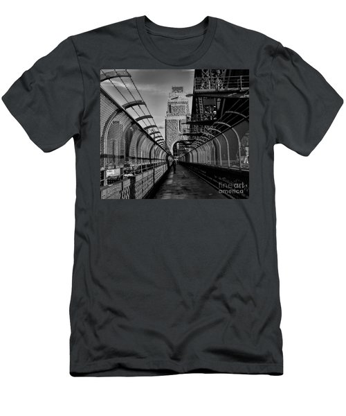 Sydney Harbor Bridge Bw Men's T-Shirt (Slim Fit) by Diana Mary Sharpton