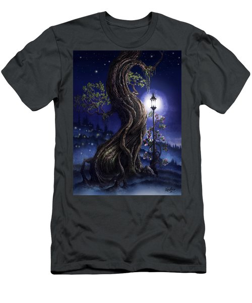Men's T-Shirt (Slim Fit) featuring the painting Sylvia And Her Lamp At Dusk by Curtiss Shaffer