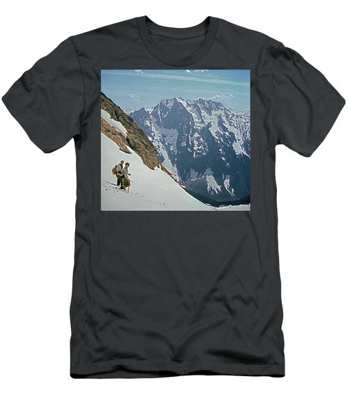 T-04402 Fred Beckey And Joe Hieb After First Ascent Forbidden Peak Men's T-Shirt (Athletic Fit)