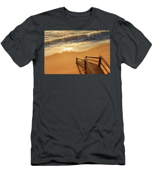 Take The Stairs To The Waves Men's T-Shirt (Slim Fit) by Joni Eskridge