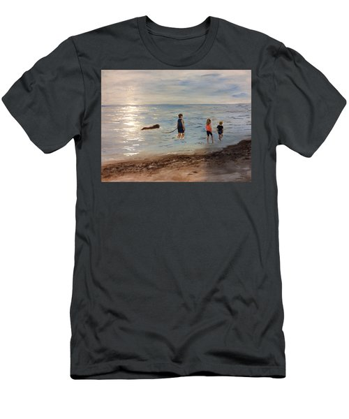 Taking A Newfoundland For A Walk Along The Beach Men's T-Shirt (Athletic Fit)