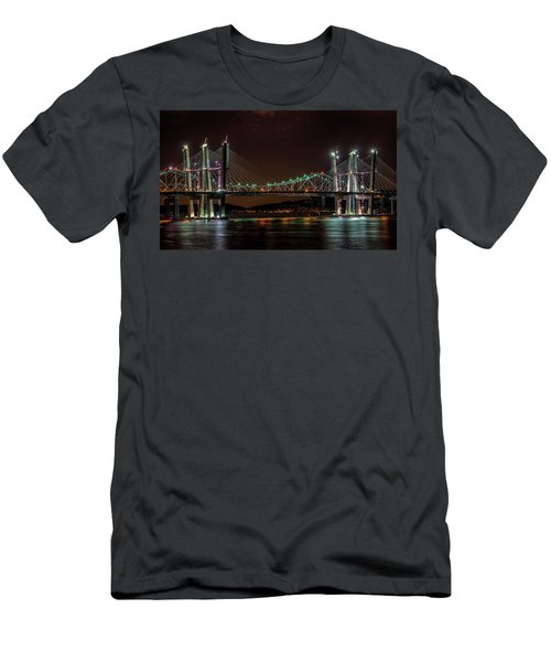 Tale Of 2 Bridges At Night Men's T-Shirt (Athletic Fit)