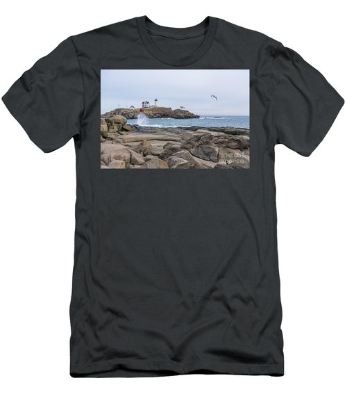 Tale Of Two Lighthouse Men's T-Shirt (Slim Fit) by Patrick Fennell