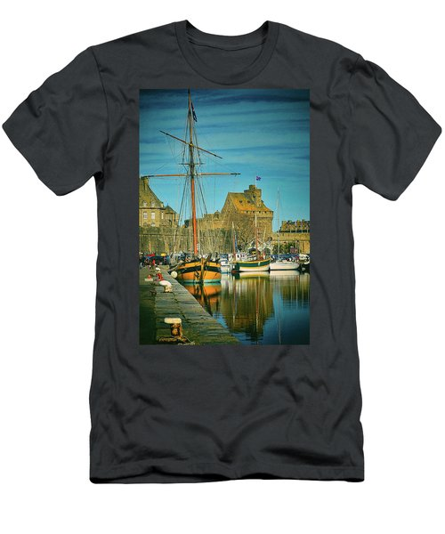 Tall Ship In Saint Malo Men's T-Shirt (Athletic Fit)
