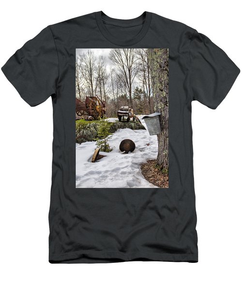 Men's T-Shirt (Athletic Fit) featuring the photograph Tapping A Maple Sugar Tree by Betty Pauwels
