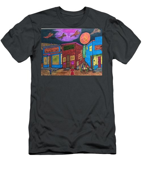 Men's T-Shirt (Slim Fit) featuring the drawing Garbell's Lunch And Confectionery by Jonathon Hansen