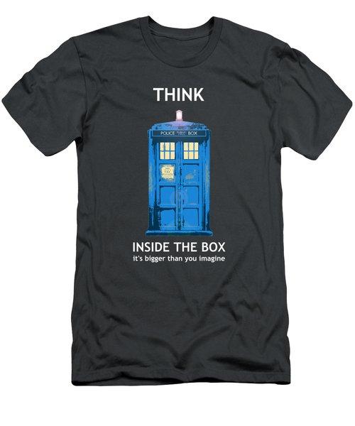 Tardis - Think Inside The Box Men's T-Shirt (Slim Fit) by Richard Reeve