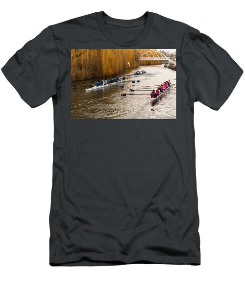 Teams Of Rowers On River Cam Men's T-Shirt (Athletic Fit)