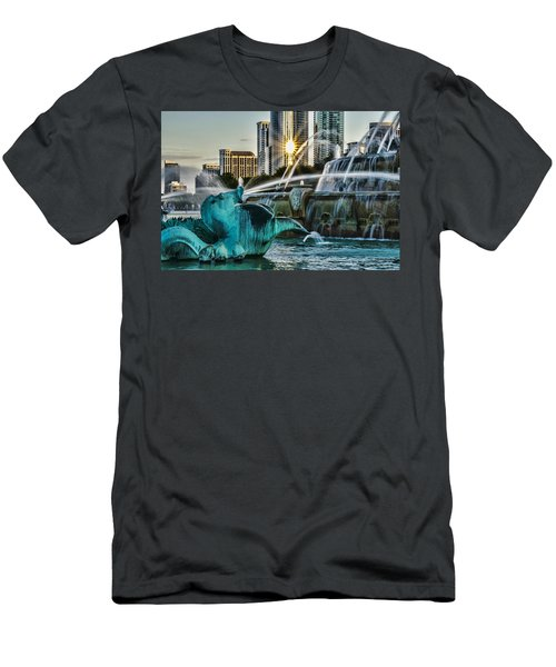 telephoto look at Chicago's Buckingham Fountain  Men's T-Shirt (Athletic Fit)
