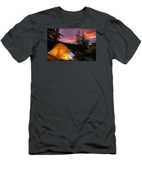 Tent At Sunset Men's T-Shirt (Slim Fit) by Michael J Bauer
