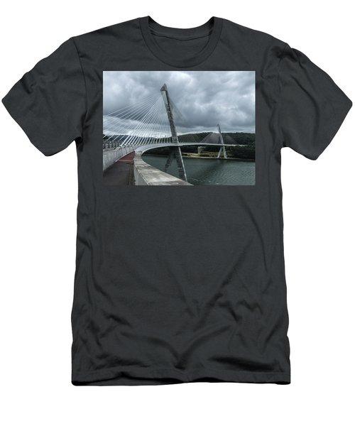 Terenez Bridge I Men's T-Shirt (Slim Fit) by Helen Northcott