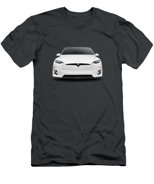 Tesla Model X Luxury Suv Electric Car Front Art Photo Print Men's T-Shirt (Athletic Fit)
