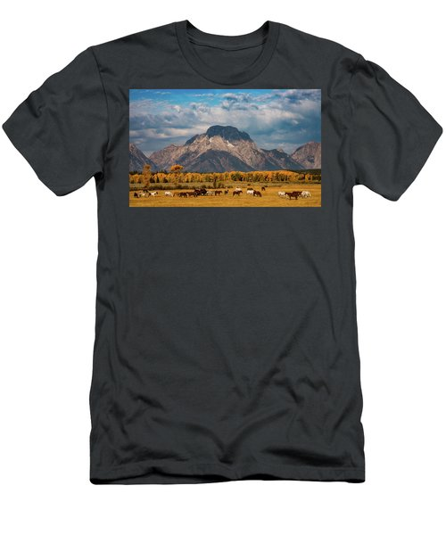 Men's T-Shirt (Athletic Fit) featuring the photograph Teton Horse Ranch by Darren White