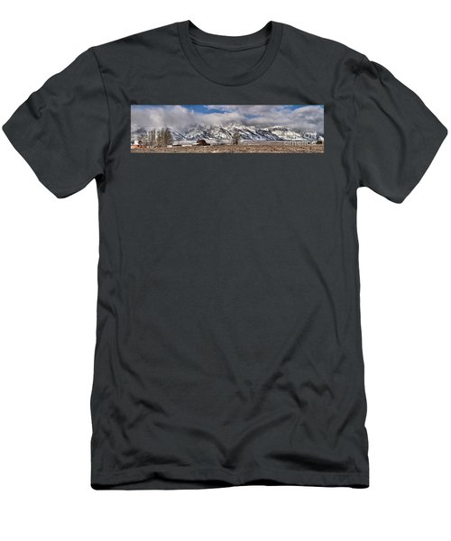 Men's T-Shirt (Slim Fit) featuring the photograph Teton Mormon Homestead Panorama by Adam Jewell
