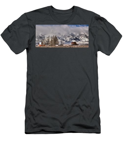 Men's T-Shirt (Slim Fit) featuring the photograph Teton Mormon Row Panorama by Adam Jewell
