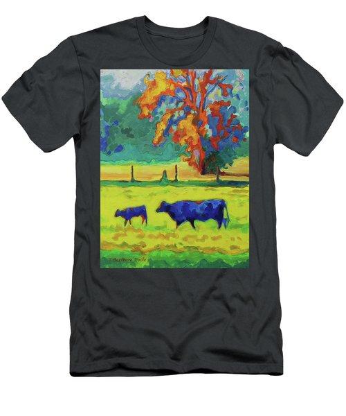 Texas Cow And Calf At Sunset Print Bertram Poole Men's T-Shirt (Slim Fit) by Thomas Bertram POOLE