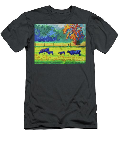 Men's T-Shirt (Slim Fit) featuring the painting Texas Cows And Calves At Sunset Painting T Bertram Poole by Thomas Bertram POOLE