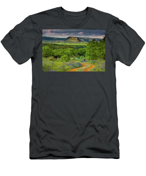 Men's T-Shirt (Slim Fit) featuring the photograph Texas Hill Country Ranch Road by Darryl Dalton