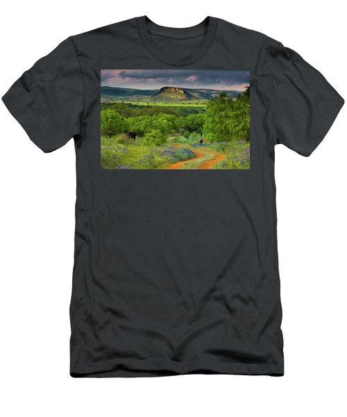 Texas Hill Country Ranch Road Men's T-Shirt (Slim Fit) by Darryl Dalton