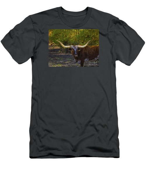 Men's T-Shirt (Slim Fit) featuring the photograph Texas Long Horn Bull by Melissa Messick