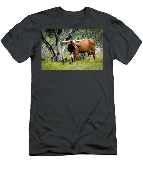 Men's T-Shirt (Slim Fit) featuring the photograph Texas Longhorn Steer by David Morefield