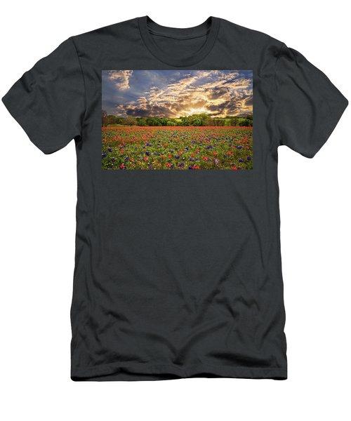 Texas Wildflowers Under Sunset Skies Men's T-Shirt (Slim Fit) by Lynn Bauer