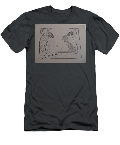 Men's T-Shirt (Slim Fit) featuring the drawing Textured Hippo by AJ Brown