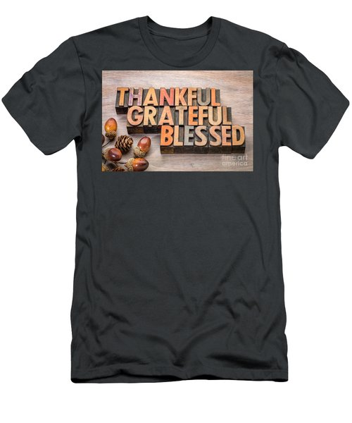 thankful, grateful, blessed - Thanksgiving theme Men's T-Shirt (Athletic Fit)