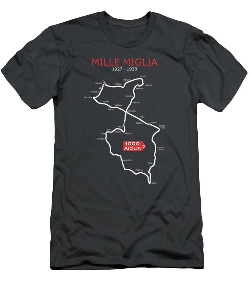 The 1927 To 1938 Mille Miglia Course Men's T-Shirt (Athletic Fit)