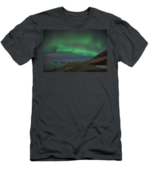The Aurora Borealis Over Iceland Men's T-Shirt (Athletic Fit)