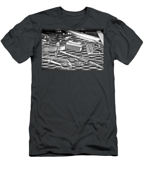 The Barber Shop 10 Bw Men's T-Shirt (Slim Fit) by Angelina Vick