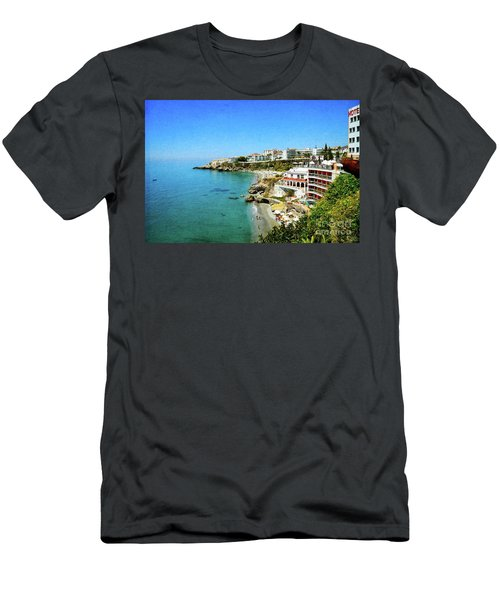 Men's T-Shirt (Slim Fit) featuring the photograph The Beach - Nerja Spain by Mary Machare