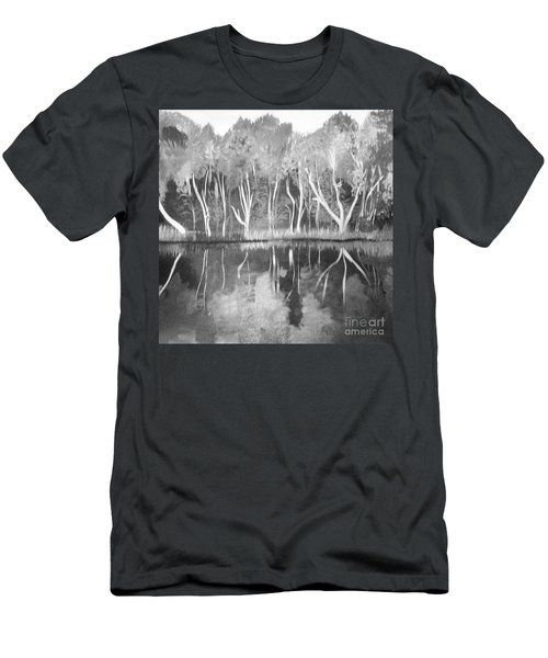 Men's T-Shirt (Slim Fit) featuring the painting The Black And White Autumn by Art Ina Pavelescu