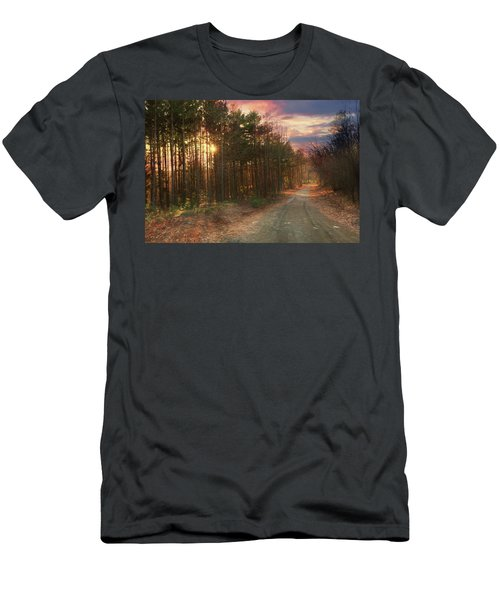 Men's T-Shirt (Slim Fit) featuring the photograph The Brown Path Before Me by Lori Deiter