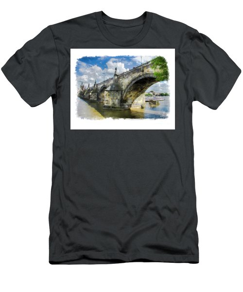 Men's T-Shirt (Slim Fit) featuring the photograph The Charles Bridge - Prague by Tom Cameron