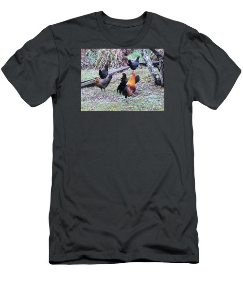 Men's T-Shirt (Slim Fit) featuring the painting The Cock-walk by Donna Dixon