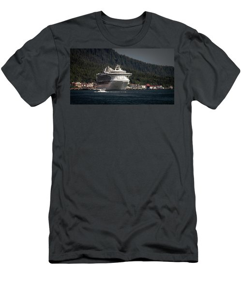 Men's T-Shirt (Slim Fit) featuring the photograph The Cruise Ship And The Plane by Timothy Latta