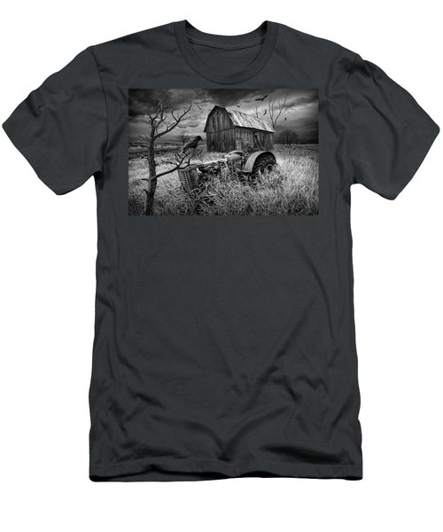 Men's T-Shirt (Slim Fit) featuring the photograph The Decline And Death Of The Small Farm In Black And White by Randall Nyhof
