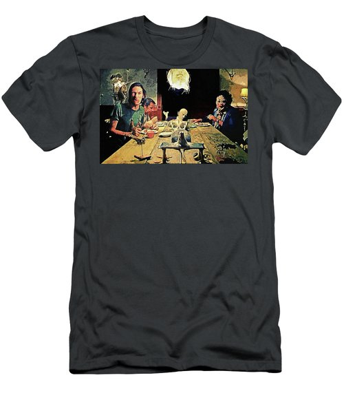 Men's T-Shirt (Athletic Fit) featuring the painting The Dinner Scene - Texas Chainsaw by Taylan Apukovska