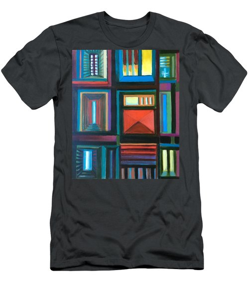 Men's T-Shirt (Slim Fit) featuring the painting The Doors Of Hope  by Laila Awad Jamaleldin