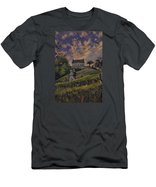 Men's T-Shirt (Slim Fit) featuring the painting The Evening Stroll Around The Hoeve Zonneberg by Nop Briex