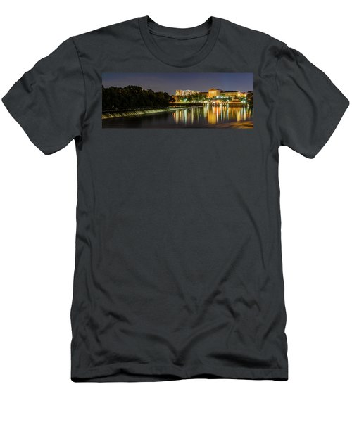 Men's T-Shirt (Athletic Fit) featuring the photograph The Fairmount Dam And Art Museum At Night Panorama by Bill Cannon